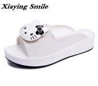 Xiaying Smile Summer Women Slippers Fashion Casual Style Sandals Creeper Slides Flats Cute Hello Kitty Carton