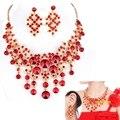 Европейский и Американский красный люкс свадебное ювелирные наборы свадебный ожерелье серьги костюм костюм головной убор