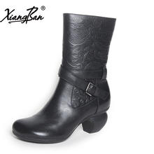 Xiangban Genuine leather mid calf women boots embossed ethnic high heeled winter women shoes with velvet boots
