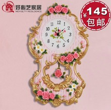 Fashion rose swing clock swing clock embossed unique red small flower wall clock