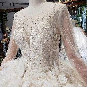 Image 5 - HTL503 יוקרה נסיכת חתונת שמלות עם רכבת o צוואר ארוך שרוול פרחי שמלות כלה עם רעלה גותי חתונה שמלה