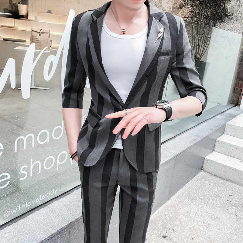 (Tops + Pants) New Striped Suits Night Field Men's Suits Bars Young Men's Clothing Tights Thin and handsome Free hot suit tide