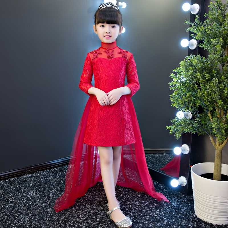 2019 Baby Girl Wedding Birthday Pageant Red First Holy Lace Embroidery  Flowers Communion Dress Sequin Children 815f61824350