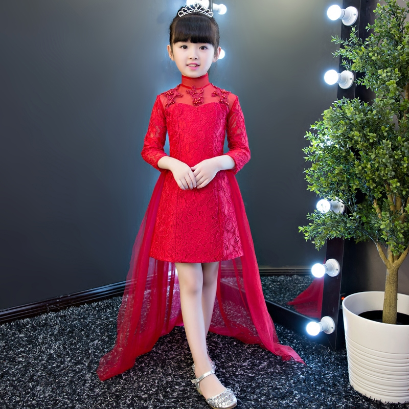 Фотография 2017 Baby Girl Wedding Birthday Pageant Red First Holy Lace Embroidery Flowers Communion Dress Sequin Children Bridesmaid Gown