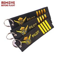 цены на 3PCS/LOT Remove Before Flight Pilot Key Chain Chaveiro Tag Embroidery Pilot Key Ring for Aviation OEM Key Chains Luggage Key Fob  в интернет-магазинах