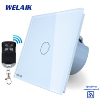 WELAIK Glass Panel Switch White Wall Switch EU Remote Control Touch Switch Light Switch 1gang1way AC110
