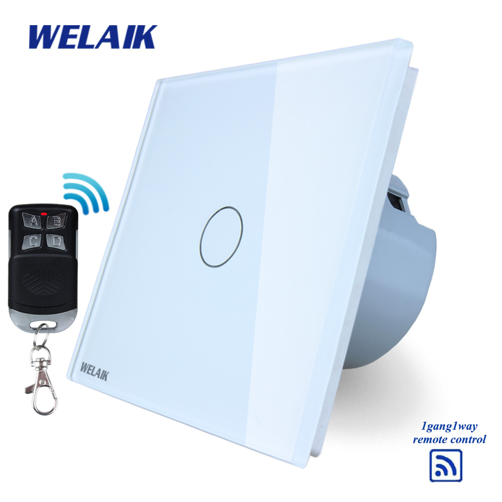 WELAIK Glass Panel Switch White Wall Switch EU remote control Touch Switch  Light Switch 1gang1way AC110~250V A1913CW/BR01 makegood eu standard smart remote control touch switch 2 gang 1 way crystal glass panel wall switches ac 110 250v 1000w
