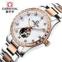 Relojes Mujer 2017 Women Watch Top Brand Luxury Carnical Winner Watch Women Skeleton Automatic Mechanical Wristwatches