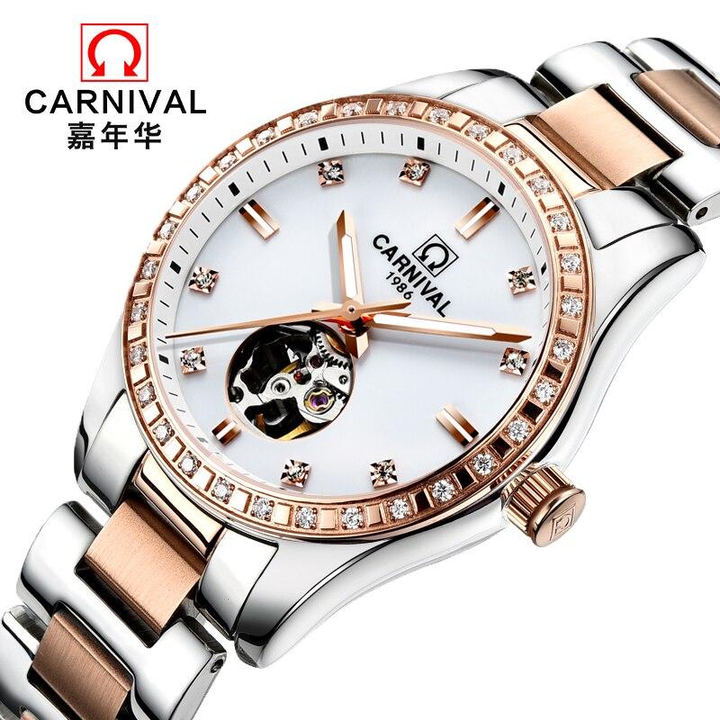 Relojes Mujer 2018  Women Watch Top Brand Luxury CARNIVAL Winner Watch Women Skeleton Automatic Mechanical Wristwatches Clock