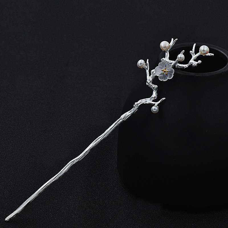 Sakura Japanese Hair Sticks Flower 925 Sterling Silver Jewelry Pearl Hairpin Handmade Ethnic Vintage Cherry Blossoms Hair Pins in Hair Jewelry from Jewelry Accessories