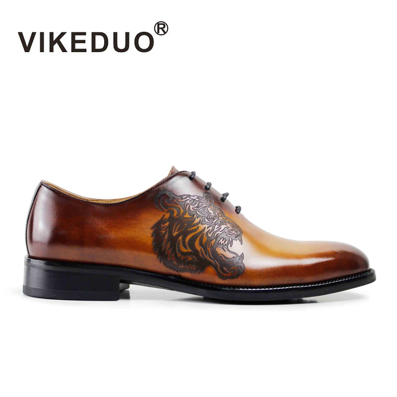 Vikeduo Handmade Vintage Luxury Wedding Party Dance Dress Shoes Tiger Pattern Genuine Leather Unique Design Oxford Shoes For Men 2017 vintage retro custom men flat hot sale real mens oxford shoes dress wedding party genuine leather shoes original design