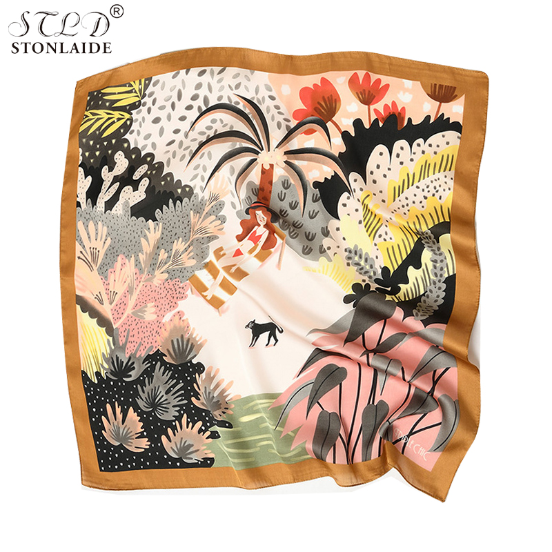 New Fashionable Women Scarf Animal And Nature Printed Imitated Silk Square Scarf Cover Neck Elegant Scarf For Ladies Foulard
