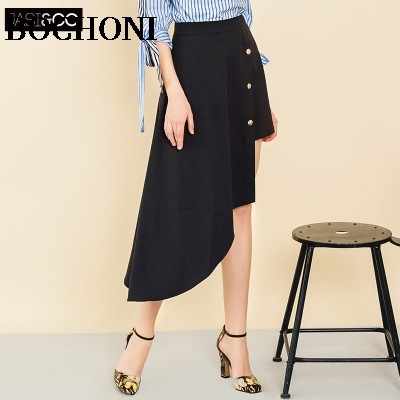 2018 Bochoni new arrive black irregular casual skirt