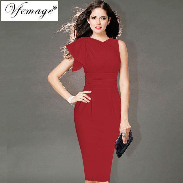e0d58def00d Vfemage Womens Elegant Ruffle Sleeve Ruched Party Wear To Work Fitted  Stretch Slim Wiggle Pencil Sheath