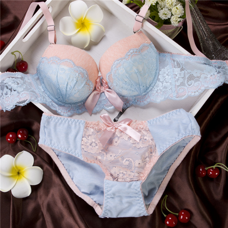 134496043c0 Sexy Lace Bra Set Cotton Lingerie Push up Sexy Bra Lovely Underwear  gathering Bra Briefs Embroidery