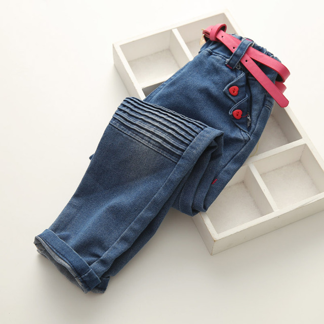 d0db72e7f03db Baby Girls Fashion Denim Jeans Girls Casual Jeans With Red-belt Child  Spring Autumn Long