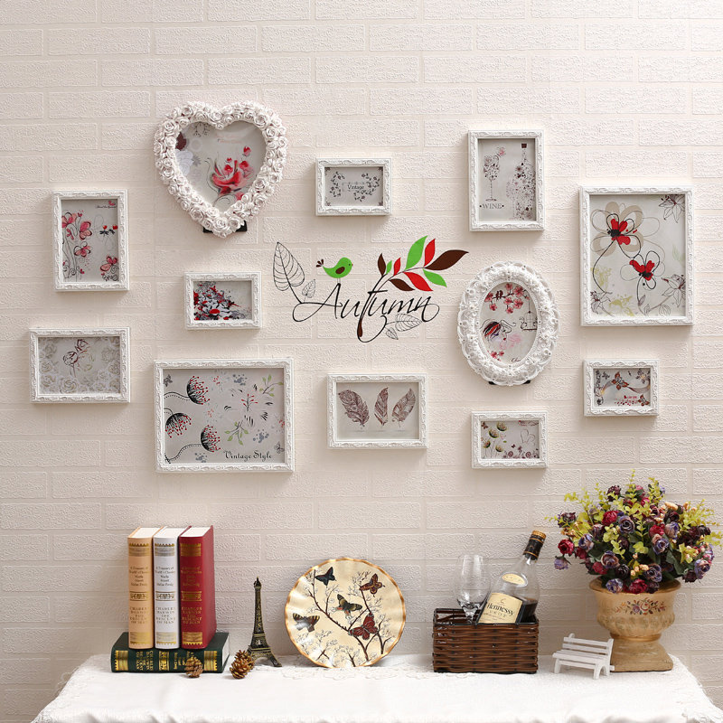 new style 12 pcsset cheap photo frame combination heart shape desktop