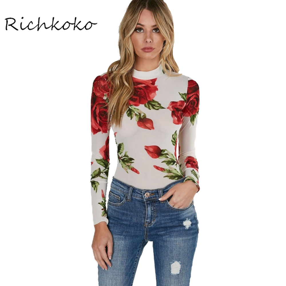 Richkoko 2017 Summer Floral Print Turtleneck Bodycon Jumpsuits Women Long Sleeve Sexy Rose Elegant Mesh Slim Summer Bodysuits