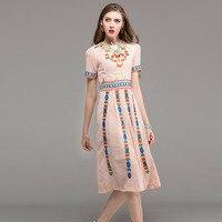 Newest Vintage Dresses 2017 Summer Top Shop Short Sleeve Ethnic Slim Slim Mid Calf Fashion Classic