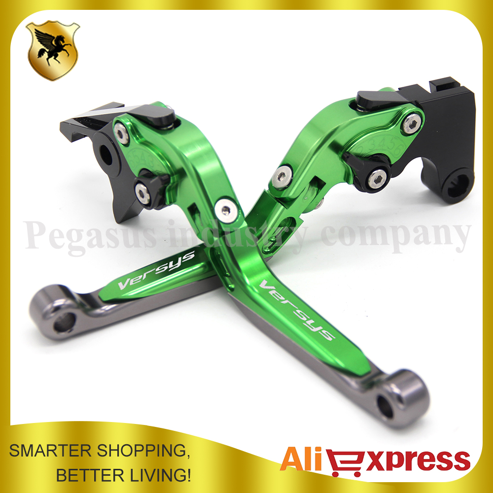 Logo VERSYS Green+Tantium CNC Aluminum Motorcycle Folding Extendable Brake Clutch Levers FOR KAWASAKI VERSYS 1000 2012-2014 2013
