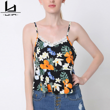 Hui Lin Lace Bralette Floral Print Sexy Summer Women Tank Top Crop Top New Design Hot Sale Two Colors