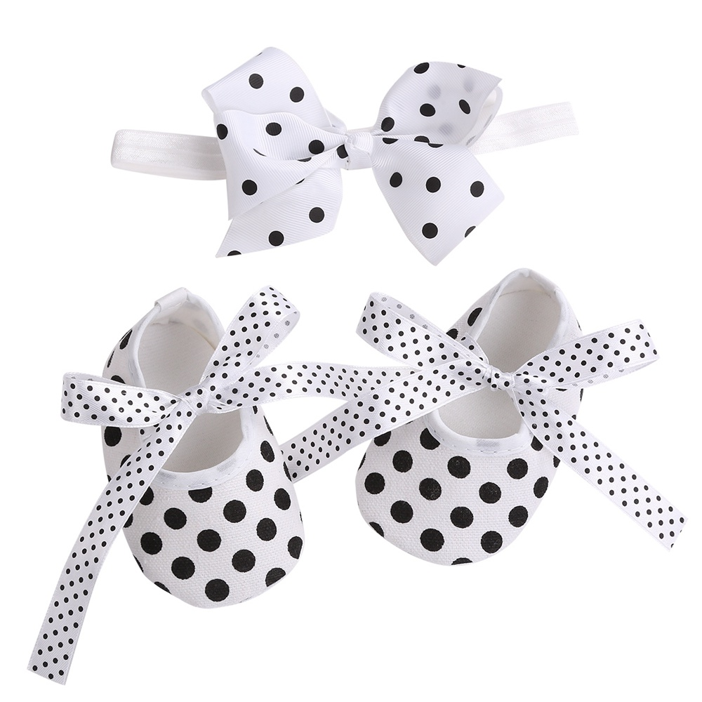 2016 New Dots Baby Girls Shoes Headbands Sets,Ballerina Booties,Fashion Newborn Shoes,Imperial Crown Princess First Walker 2016 new fashion baby shoes baby first walker bow lace baby girl princess shoes non slip newborn shoes