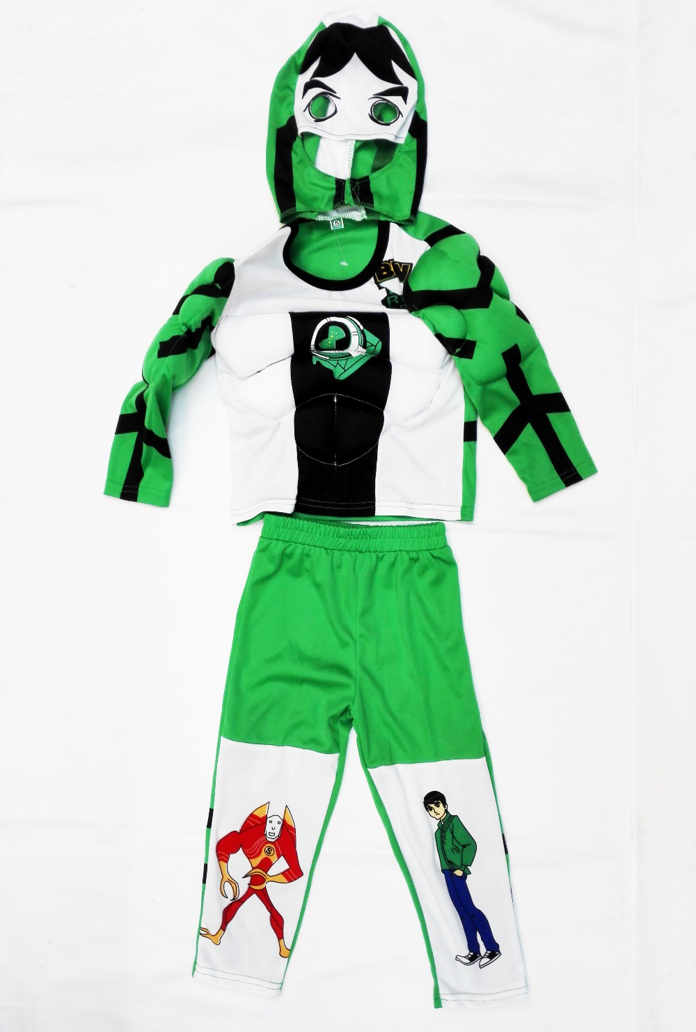 Kid Cosplay Halloween Party Costumes Muscle Ben 10: Race Against Time Clothing,Hallowmas Boy Muscle Role-playing Clothing