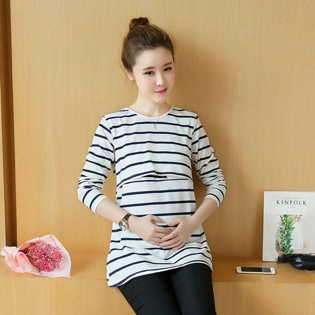 Rayas de la moda de Maternidad Ropa de Maternidad Completo t shirt camisa De Enfermería Lactancia Materna Tops para las mujeres embarazadas