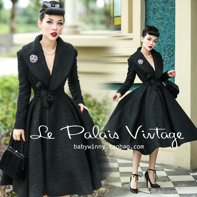 30- Le Palais Vintage Audrey Hepburn Wool Long Swing Rockabilly Coat In Black Women Plus Size Coats Abrigos Mujer Blusa De Frio