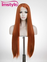 Imstyle Straight Synthetic Reddish brown 30 inches lace front wig