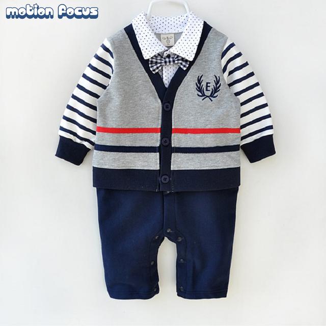 Roupas da moda 100% de algodão do bebê recém-nascido infantil de alta qualidade terno formal mamelucos para bebes roupa cavalheiro macacão de bebê menino