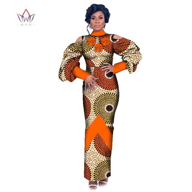 winter Women traditional african dress Brand Custom Clothing Africa Wax  Dashiki puff sleeve long Dress big size 6xl none WY2603 c35e2ac64375