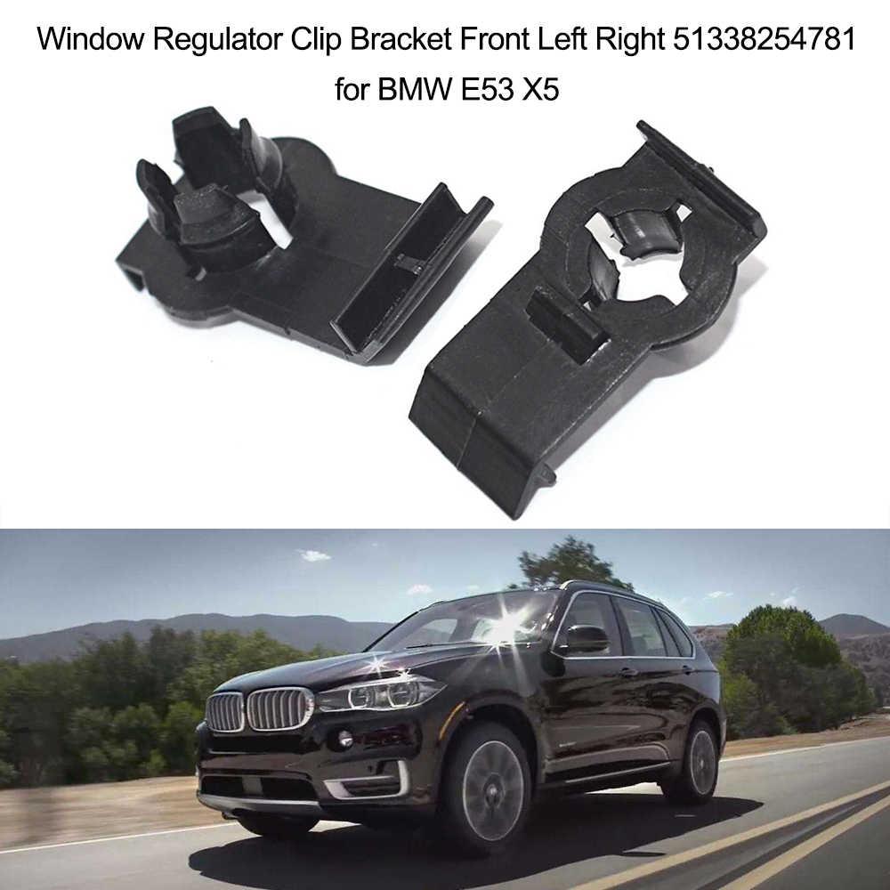 Auto Window Regulator Klip Bracket Mobil Kit 2 Pcs Tahan Lama untuk BMW E53 X5 Indoor Aksesoris Nyaman Alat Hitam Perbaikan bracke