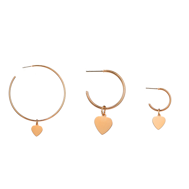 3 Pieces / Set Of Punk Heart Big Circle Gold Earrings Set Women'S Fashion Party Wedding Jewelry Accessories