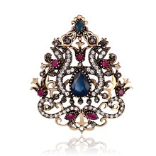 Bunga besar Wanita Gothic Bros Crown Desain Vintage Bros Pin Kerah Resin Warna Turki Indian Perhiasan Emas 6.3 cm(China)