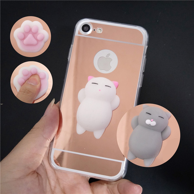 best loved 7c50f 2ad86 US $1.68 11% OFF|Cute Mirror Squishy Case Bunny Cat Silicone Phone Case For  Samsung Galaxy S9 S9Plus S3 S4 S5 S6 Edge Plus S7 Edge S8 S8Plus Note-in ...