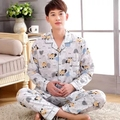 2017 Spring Fall Winter Men 100% Cotton Pijamas Sets of Sleepshirt & Pants Adult Casual Home Clothing & Sleepwear Plus Size 3XL