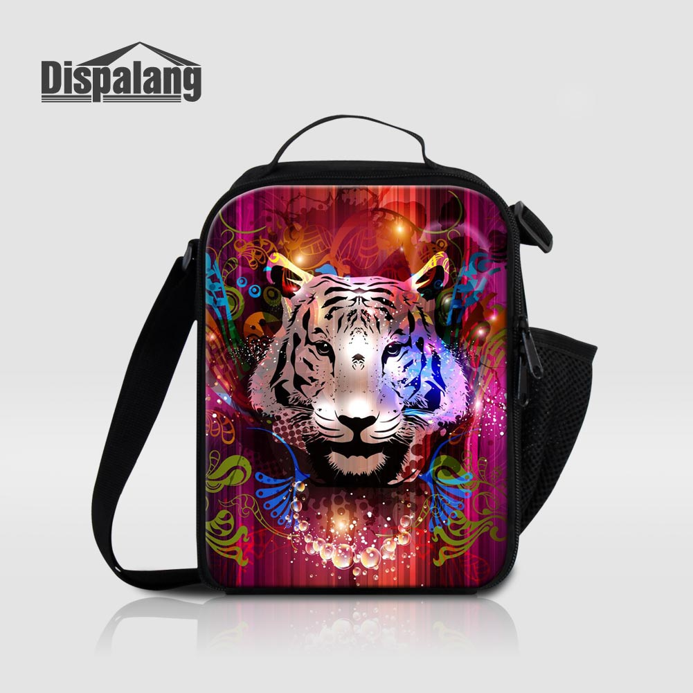 Dispalang Tiger Animal Expression Thermal Insulated Lunch Bags For Students Canvas High Quality Womens Lunch Bag Kids Lancheira