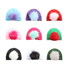 1a2d73aa4b6 Baby turban hat with fur pompom ball turbans for tots Infant toddler  Topknot beanie Baby girls