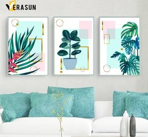 Image 2 - 緑色植物モンステラヤシの葉ジオメトリ壁アートキャンバス絵画北欧ポスターやプリント壁の写真リビングルームのインテリア