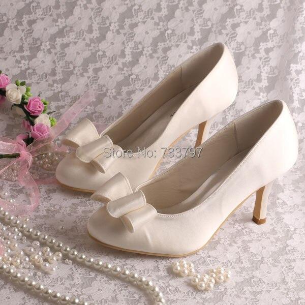 Wedopus Custom Handmade Big Bow Heels Pumps for Wedding Party Ivory Satin 8CM