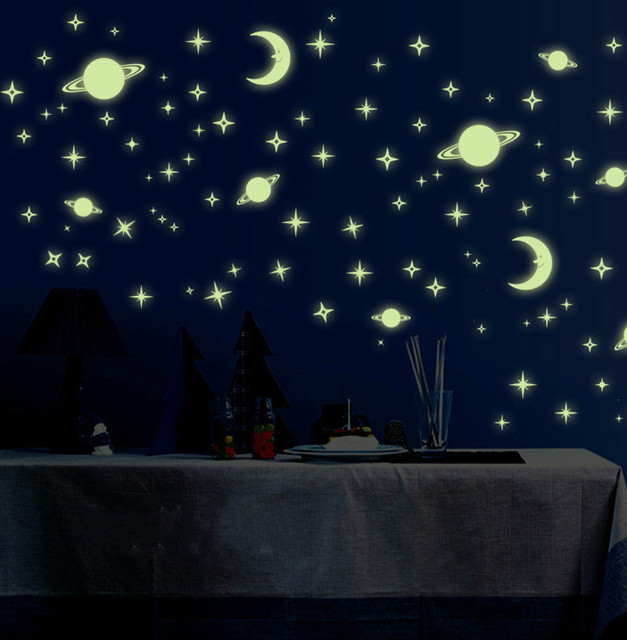 Luorescent Stickers Universe Planet Star Glow Dark Luminous Celling Wall Art Home Paste Ceiling Decoration