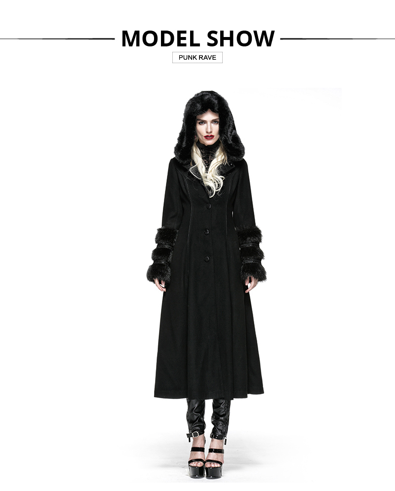 Punk Rave Fashion Gothic Victorian Vintage Kera Lace Buttons Long Coat Jacket