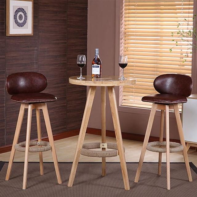 Bar Stool Modern Minimalist Chair Home Solid Wood High Fashion Creative