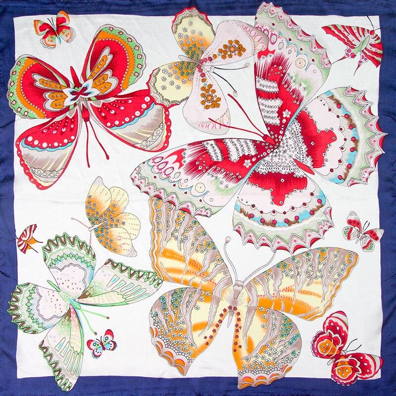 245445fa 100% bufanda de seda de la bufanda de las mujeres mariposa bufanda Bandana  pañuelo de seda 2019 caliente Pañuelo cuadrado pequeño de seda bufanda ...
