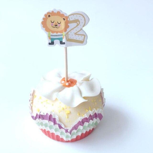 24 Pcslot Kawaii Digital 2 Number Cartoon Lion Bear Cake Topper