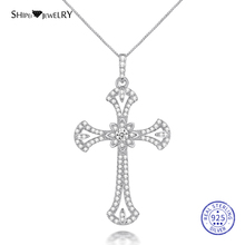 цена ShiPei 100% 925 Sterling Silver White Sapphire Rose Gold White Gold Yellow Gold Cross Pendant Necklace for Women Fine Jewelry онлайн в 2017 году