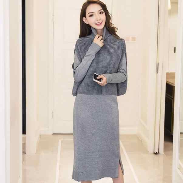 2 조각 세트 겨울 여성 드레스 니트 스웨터 그레이 블랙 긴 소매 터틀넥 드레스 office 빈티지 붕대 미디 드레스 dc450