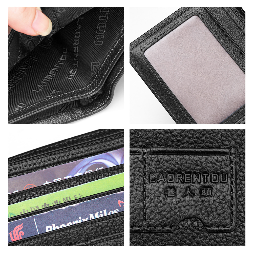 LAORENTOU Wallet Men 100 Genuine Leather Short Wallet Vintage Cow Leather Casual Man Wallets Purse Standard Card Holders in Wallets from Luggage Bags