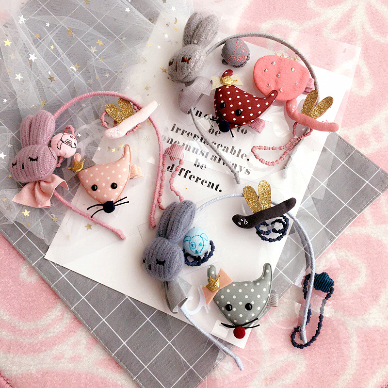 Korea Cotton Cartoon Rabbit Fox Hair Accessories For Girls Gauze Hair Clips Hair Band He ...